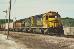 Grain train waits for crew to depart