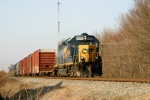 CSX 6066 brings a flatcar and seven boxcars into Franklin Ky 5:35pm 3/17/09