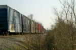J759 with CSX 6066, 1 flatcar, 7 boxcars southbound to Portland Tenn 5:35pm 3/17/09
