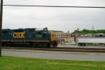 CSX 2703 leads nb work train WO32 past downtown 4/30/09