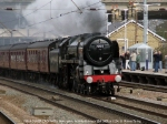 Britannia Pacific 70013 OLIVER CROMWELL runs through Huntingdon on 1Z78, 0707 Cleethorpes - King's Cross special.