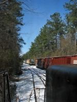 Backing into the siding to pick up a few boxcars