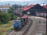 Northbound freight passing Harrisburg Station on a typica hazy July Day.