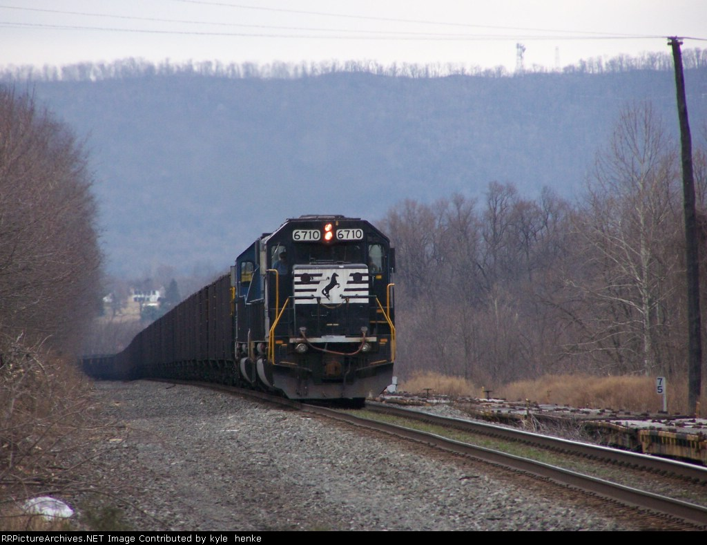 Loaded coal on the approach to Enola.