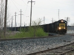 K357-29 rounds the curve as it heads west