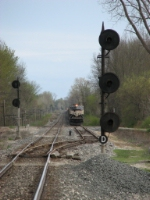 D801 waits in the siding as D802 pulls in behind them in the distance