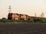 BNSF 9382 leads D801-17 out of the valley with eastern empties