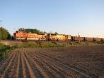 BNSF 9382 & 9898 head east through the signals with D801
