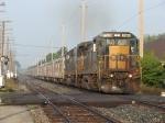 The circus train gains speed behind CSX 7599 & 8637, running as P916-22