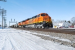BNSF 6412 rolls east towards Chicago, Il on this cold winters day.