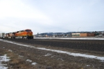 BNSF 7222 east Z rolls towards Hauser, Idaho in the late pm.