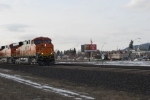 BNSF 7205 and BNSF 7231 lead a Z-train east towards BNSF Hauser Idaho on this Valentines Day afternoon.