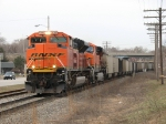BNSF 9399 & 6106 lead N954-17 eastward down Track 1