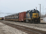 With a large block of pipe today, CSX 6083 prepares to go east with Y106-18