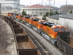 Brand new ES44C4's 6604 & 6608 trail 5 more BNSF units