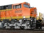 Close up of BNSF 6608's cab and new truck design