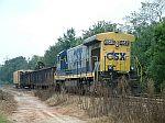 CSX 5549 powers a short work train