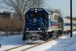MNCR BL20GH 112 heads up northbound Danbury train 1830 at Shelter Rock Rd.