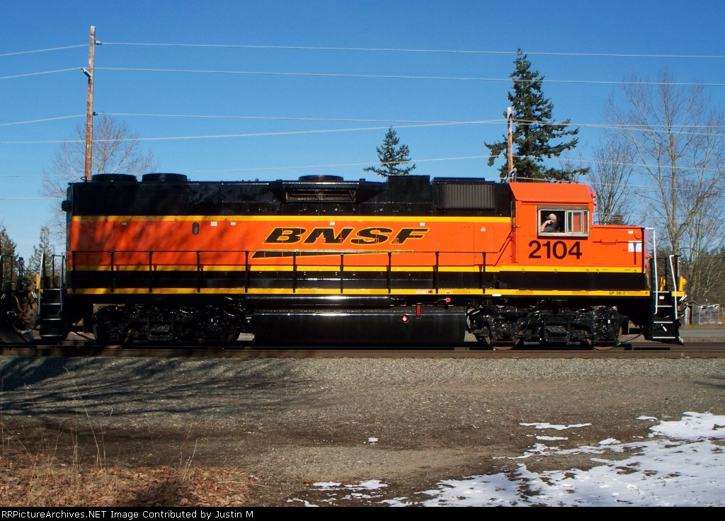 BNSF 2104 after a repaint to BNSF's new colors and logos.
