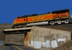 BNSF 4124 over the Dam Access Road