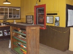Model trains are located near the ticket window