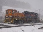 BPRR 1512 and 302 idle near the Johnsonburg yard in a heavy snowstorm