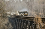 NS 7105 leads intermodal train across James River trestle Northbound