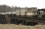 NS 7108 as last of four locos with intermodal across James River trestle