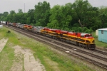 Six KCS Locomotives Powering Freight Down Wilson Alley