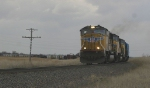 Northbound freight in crummy weather conditions