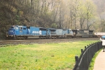 Westbound stack train slogs upgrade