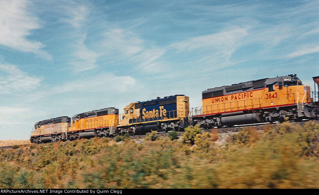 FOUR CLASSIC SD40-2'S ON A UNION PACIFIC COAL TRAIN.