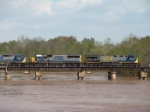 CSX 5009 crossing a very swollen Flint River