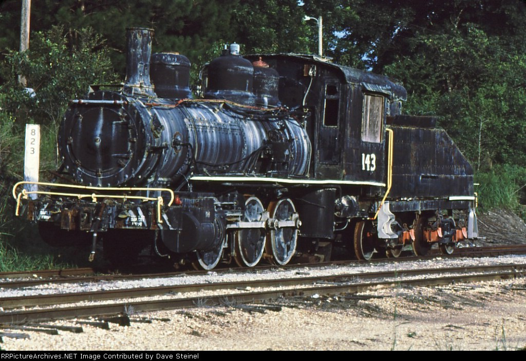 Trilby, FL # 143.  Photo was taken August 1987, tracks are gone, engine on disply at Pioneer Florida Museum, Dade City, Florida