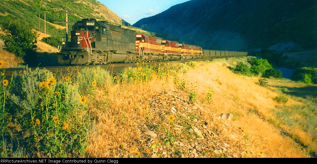 Southern Pacific Train MNGVC at the mouth of Spanish Fork Canyon,August 28,1994.