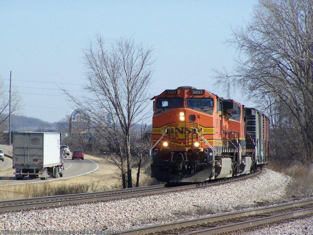 BNSF 5057 Leads its Manifest Train Along US Hwy 20