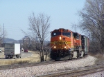 BNSF 5057 Leads its Manifest Train Along US Hwy 20
