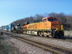 New GE Power and a Nice EMD Helper Take Containers East on the Aurora Subdivision