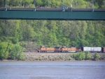 BNSF 4153 Leads a Westbound Manifest Train Along the Mississippi River