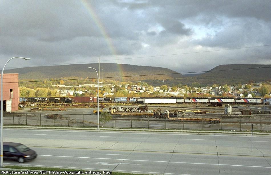 A rainbow over the Juniata Locomotive Shop