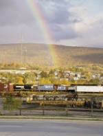 A rainbow ends at the Juniata Shops