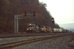 An early morning westbound freight