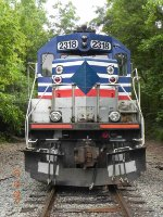 Head on shot of former VRE locomotives