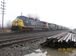 CSX 488 leads G136-28 onto the St. Louis line
