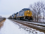 Q515-06 plows through the snow with 2 brand new ES44AC's!!