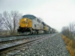 CSX 5200 leads Q688-27 in the pouring rain
