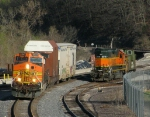 Northbound BNSF High-Wide Special Passing the BNSF Local Locomotive and Caboose