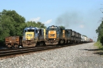 CSX Q393-18 passes a rail train