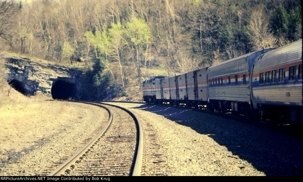 AMTK 206 leads the eastbound New England section of the Lake Shore Limited into the west portal of State Line Tunnel