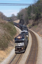 NS 6791 leads the assualt on the grade from the N&W